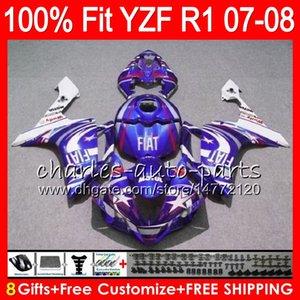 8Gifts YCF1000 YZF1000 용 YCF-R1 2007 2008 YZF R 1 37NO81 파란색 흰색 YZFR1 07 08 YZF 1000 YZF R1 07-08 YZF-1000 Fairing