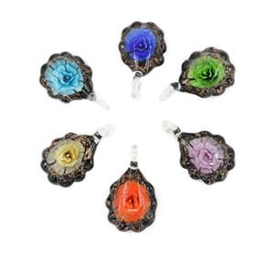 Sıcak Satış Düz Yuvarlak Lampwork Cam Kolye Focal Üflemeli Cam Çiçek Boncuk Kolye Kolye 12 adet / kutu, MC0035