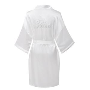 Venda por atacado - 2017 Festa de cetim de casamento dama de honra Robe com strass Mulheres Pure Short Sleepwear Kimono Robes Mulher Roupões de banho Pijamas