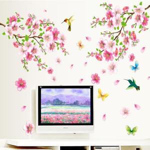 Большие ZY9158 элегантный цветок стены стикеры изящные цветение персика птицы стены стикеры мебель романтическая гостиная украшения