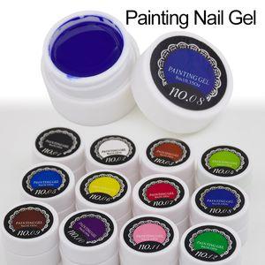 Wholesale-1pcsGel Nail Paint Polish Draw Painting Colors UV Bio Gel Long-lasting Glitter Soak Off 12 Colorful Nail Polish