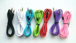 Позолоченный 3,5 мм между мужчинами 1,2 м / 4 фута, семь цветов, автомобильный аудио кабель AUX через DHL 200+