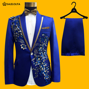 Wholesale- Wedding Groom Tuxedos Suit Men Fashion Blue Paillette Embroidered Male Singer Performance Party Prom Blazer Suit Costume 4 Piece