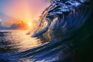 Artigianato di Alta Qualità Olio Art Pittura Onde Seascape SU Qualità TELA, Multi formati personalizzati, Spedizione Gratuita-058 #