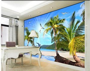 3D sea view scenery stereo TV wall mural 3d wallpaper 3d wall papers for tv backdrop