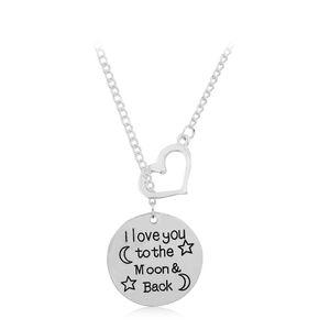 Amantes de regalo Nueva moda Charms Joyería Te amo a la luna y la espalda Cadenas de mamá Collar Corazón Hija Abuela Plata Tono