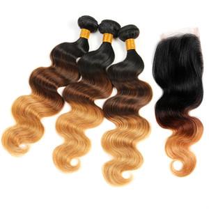 Body Wave Human Hair Highlight 1b / 4/7 27 Paquetes de rubia virgen brasileña con cierre de encaje Top Wavy 3 tono Ombre tejidos Cierre 4pcs