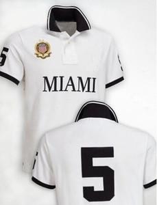 Primavera Otoño de París Camisa de polo EE.UU. bandera americana Italia Moda Polos Miami Sao Paulo hombres de manga corta bordado del deporte del polo camisetas