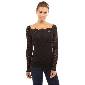 Blusenhemd der Frauen Pluse Größe neues Art und Weiselange Hülsen-reizvolle Spitze-Hemdbluse Spitzenbluse der Frauen 4XL-S