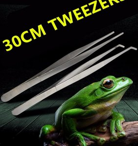 Big size 304 Stainless Steel Reptile Tweezers Clips with Non-slip Design Tool for Frog Spider Lizard Terrarium Cleaning Feeding