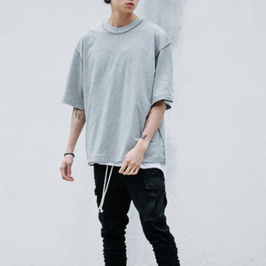 Wholesale- Man streetwear T style clothing men T shirts Extended white grey black oversized tee homme hip hop half sleeve T shirt