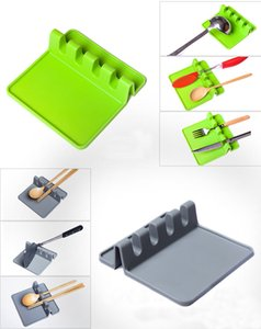 Silicone Spoon Rack Holder Pot Pan Lid Pot Shovel Holder Food Grade Silicone Tools Shelf Kitchen Utensil Rest 2Colors HH7-171A