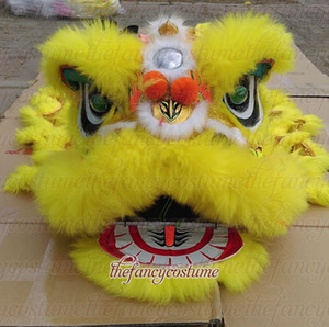 SMART yellow children new Lion Dance traje de disfraces al aire libre días de navidad de lana pura Southern Lion Adultos tamaño traje chino Folk