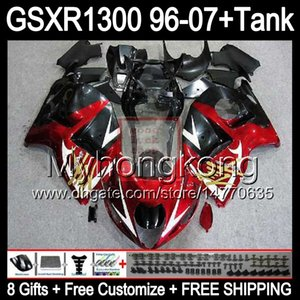 8gloss rot glänzend Für SUZUKI Hayabusa GSXR1300 96 97 98 99 00 01 13MY148 GSXR 1300 GSX-R1300 GSX R1300 02 03 04 05 06 07 TOP rot schwarz Verkleidung