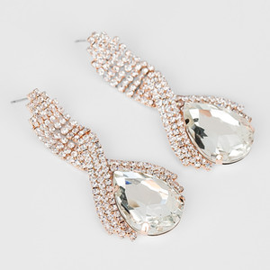 YFJEWE Llegó la venta caliente grandes pendientes de gota para la mujer Moda temperamento párrafo largo pendientes de cristal la versión femenina