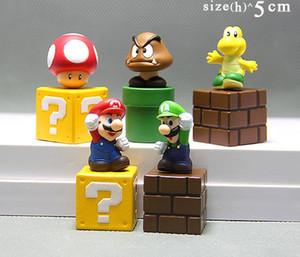 جديد 5 قطعة / المجموعة الكرتون لعبة سوبر ماريو بروس الشكل البسيطة التماثيل الأطفال اللعب نموذج دمى كعكة قلم ممتاز ديكور