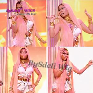 Celebrity Rock Nicki Minaj Basket Show spectacle perruque synthétique rose taille / pieds longueur soie cheveux raides perruque complète partie centrale perruque du cuir chevelu
