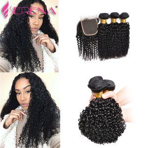 9a Brésilien Cheveux Vierges 4Pcs / lot Indien Kinky Bouclés Armure de Cheveux Humains 3 Bundles avec Fermeture en Dentelle Pièce de Cheveux Pas Cher 30 pouces Weaves Closure