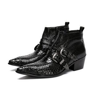 Luxo Itália Tipo 6.5 CM Preto Dedo Apontado 100% Feito À Mão Nova Marca Homens Botas de Couro com Fivela Ziper Ankle Boots, tamanho 38-46