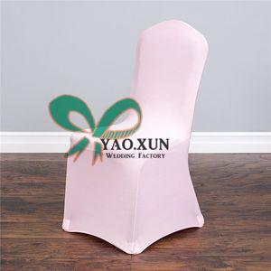 Дешевые розовый цвет Spandex крышки стула плоский фронт для венчания