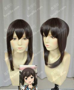 Koleksiyon Fubuki Kahverengi Güzel Düz Cosplay Peruk Saç Ücretsiz Nakliye