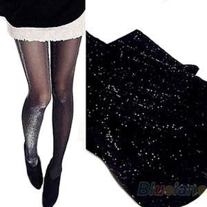 Wholesale- Shiny Pantyhose Glitter Stockings Womens Glossy Tights 1GFQ