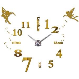 Wholesale- 25''-40'' Large Oversized DIY 3D Wall Clock Angel Guardian Digital Big Mantel Clocks Kitchen Modern Self-adhensive Clock Watches