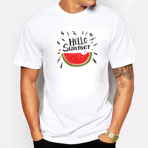Nouvelle arrivée à manches courtes hommes T-shirt L'été arrive Imprimer Cool Pastèque T-shirt pour hommes Top Coton Casual Blanc Tee