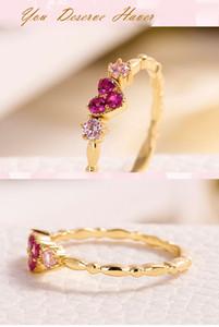 Sterling Silver S925 ornamentos red diamante amor anéis das mulheres simples personalidade criativo anéis de diamante fábrica de jóias por atacado
