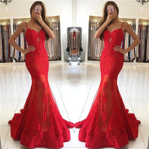 Sirena Sexy Red Prom Dresses 2018 Nuevo diseño Sirena Spaghetti Straps con apliques de encaje Evening Party Gowns Desfile formal BA6685