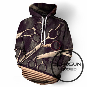 Commercio all'ingrosso- ALMOSUN Barbershop Fashion 3D All Over Print Pullover Felpe Hip Hop Jumper Divertente Hipster Sportswear Unisex