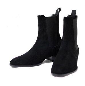 Homens Camurça Martin Botas Sapatos Wyatt Homens Empilhados Salto Slip-On Sapatos de Moda Nubuck Couro Chelse Bota Tornozelo Homens Sapatos