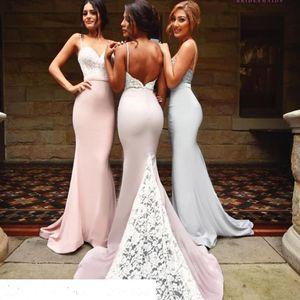 Spaghetti Mermaid Dama de honor Vestidos 2017 Vintage Lace Train Summer Beach Vestidos de dama de honor Vestido De Festa Wedding Guest Dresses