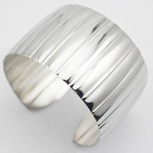 Новое поступление Оптовая серебро 316L из нержавеющей стали открыть манжеты браслеты браслеты панк стиль для женщин интернет-магазины ювелирных изделий