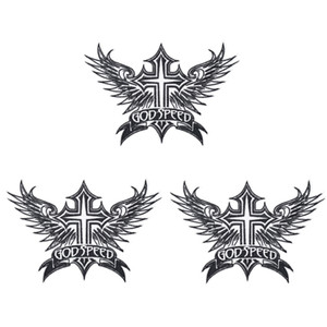 1 UNIDS Punk God Jesus Cross Wings Parches para Ropa de Motor Hierro en Transferencia Applique Patch para Chaqueta de Ropa DIY Coser en Embroidery Badge