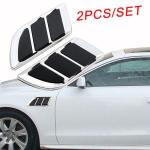 2Pcs 크롬 자동 모터 모델 도어 펜더 부품 3D 장식 시뮬레이션 공기 벤트 입구 그릴 데칼