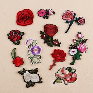 10 pcs Rose Flor Patch Bordado Para Roupas Jaqueta Patches De Ferro Em parches Jean Vestido De Cocktail Cheongsam Patchwork De Tecido Apliques
