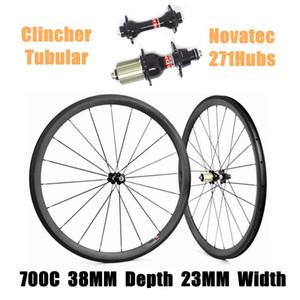 Catazer Factory Sale 700C 38mm Profundidad 23mm Ancho Ciclismo Ruedas Clincher Tubular Full Carbon Wheelset Con Novatec 271Hubs