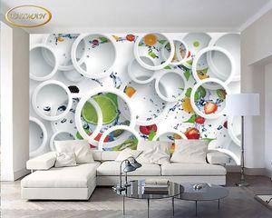 3D sur mesure Photo Wallpaper Fresque Fruit Papel De Parede restaurant Fond d'écran Fruit Magasin Papier peint Peinture murale mur