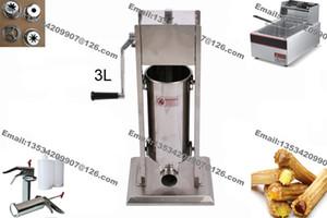 Frete Grátis 3 em 1 3L Manual De Aço Inoxidável Espanhol Donut Churro Maker Machine + 6L 110 v 220 v fritadeira Elétrica + 700 ml Churros Enchimento