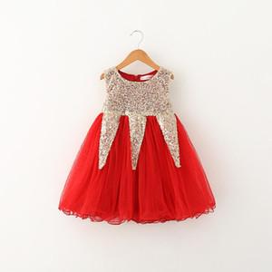 2017 vente chaude Nouveaux styles fille inversée triangle jupe à paillettes Casual fille gilet élégant Fashion Princess Dress livraison gratuite