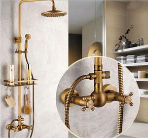 Bahroom Antique Brass Shower Wasserhahn Regendusche Dual Griffe Mixer Mit Badregal