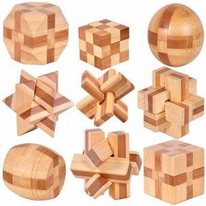 9 UNIDS Nuevo Diseño Excelente IQ Brain Teaser 3D De Madera Entrelazado Puzzles Juego de Juguete Para Niños