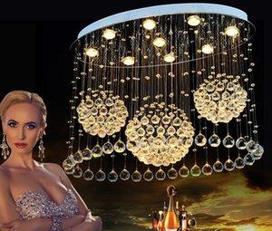 Современные светодиодные потолочные светильники для гостиной Art Crystal Celling Лампы Прямоугольный Овальный Столовая Спальня Lighs Крепеж фонариков LLFA