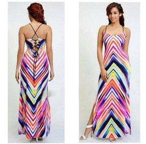 Sommer Frauen Striped Sling Kleid Sexy Printing High Split Kleid Fashion Bohemia Female Harness Langes Kleid
