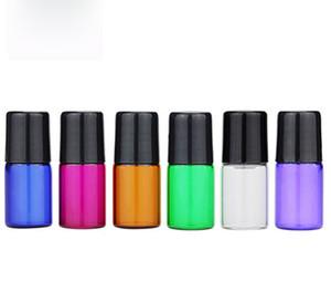 2 ml Pequeño vidrio de colores Botellas de rodillos 6 colores Mini Esencia botellas de vidrio de aceite con metal en rollos Ball y Negro Blanco tapas 1200Pcs de DHL