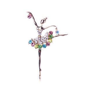 Wholesale- Fashion Ballerina Ballet Dancer Girl Full Colourful Multicolors Crystal Set Auger Cute Angle Brooches Pins Jewelry Accessories