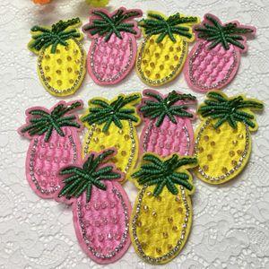 20 pezzi Patch perline per abbigliamento Adesivo ananas Patch ricamate Patch Jeans Camicetta Abito Decor Tessuto Patchwork Stage Badge Applique
