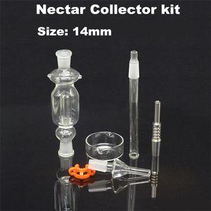 Le meilleur collecteur de nectar de 14mm avec le titane Nail Grade 2 Titanium Mini verre Pipe Oil Rig Concentré de paille de miel pour Collinss