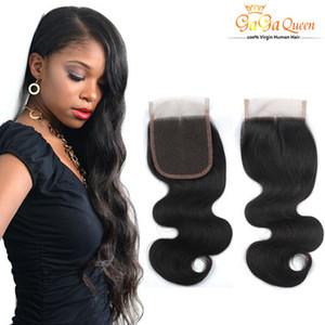 La meilleure qualité 4 * 4 Lace Frontal 100% Closures corps non transformés brésilienne Human Wave Cheveux naturels Couleur de cheveux humains Fermeture Livraison gratuite